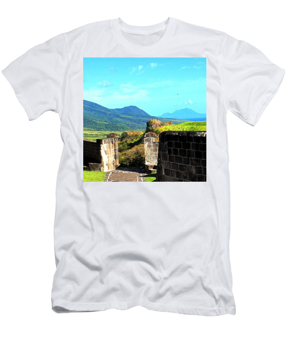 St Kitts Men's T-Shirt (Athletic Fit) featuring the photograph Brimstone Towards Nevis by Ian MacDonald