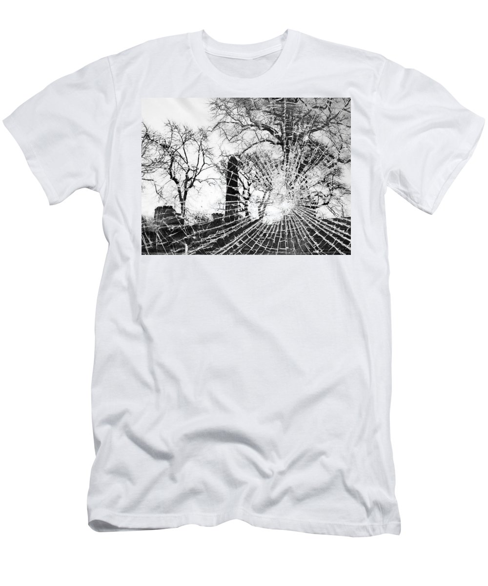 Black And White Men's T-Shirt (Athletic Fit) featuring the photograph Broken Trees by Munir Alawi