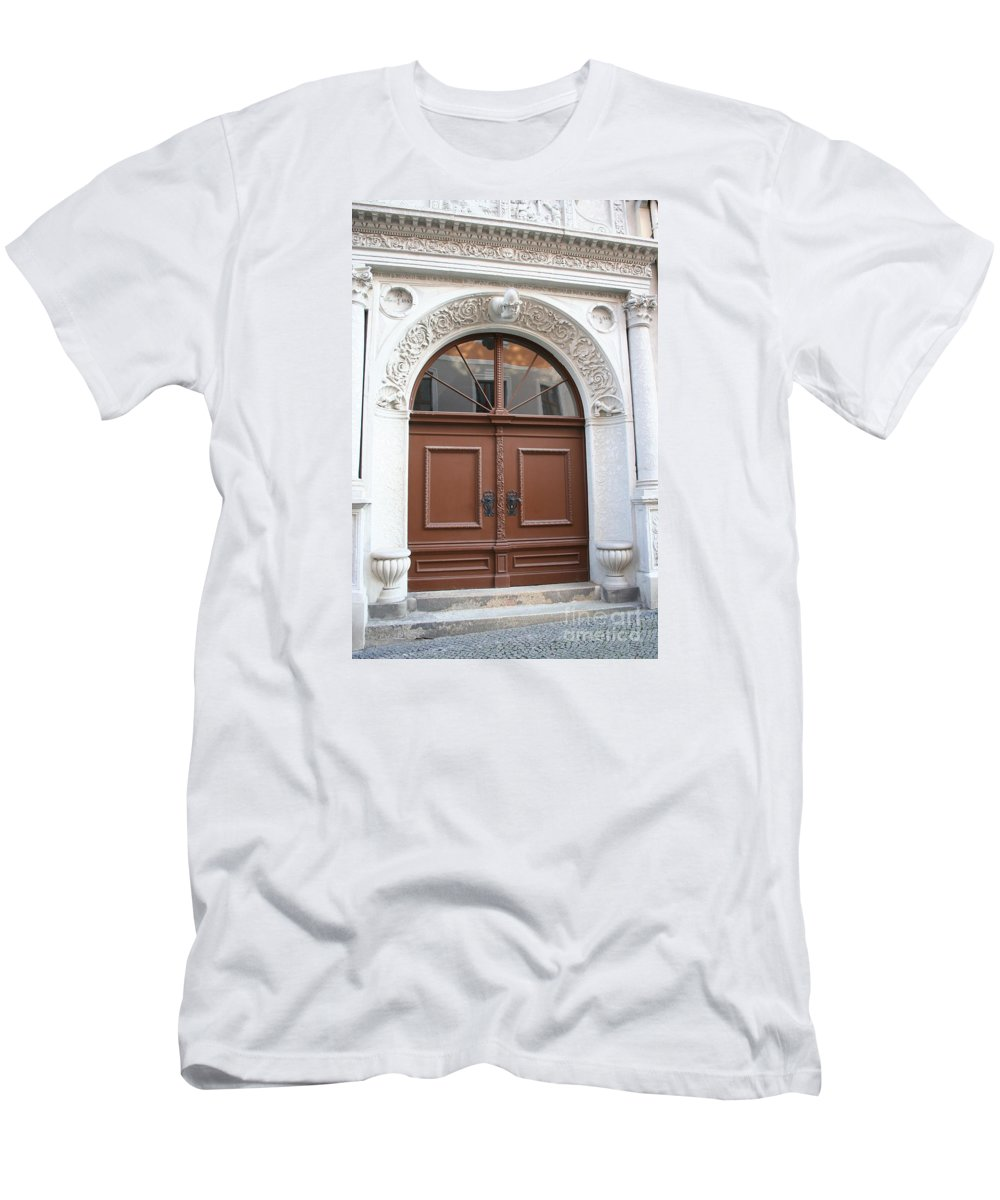 Door Men's T-Shirt (Athletic Fit) featuring the photograph Brown Door by Christiane Schulze Art And Photography