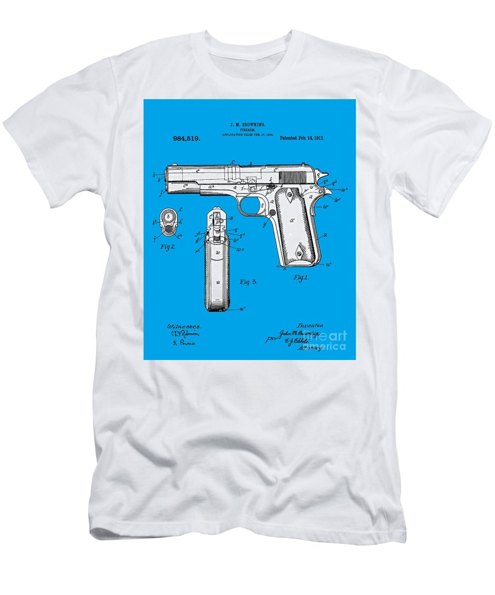 556a1551 Browning Men's T-Shirt (Athletic Fit) featuring the photograph Browning Hi  Power Pistol