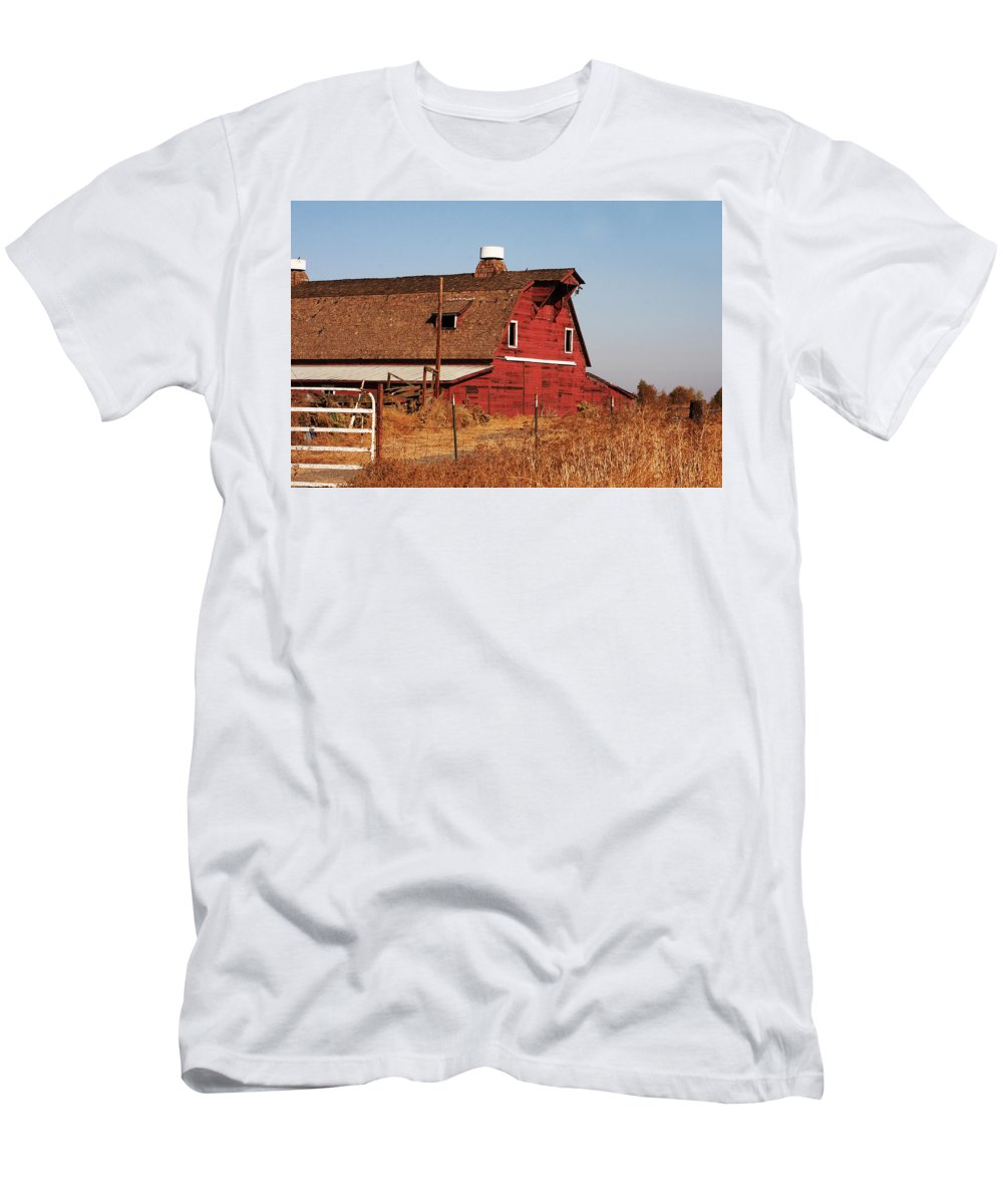 Asian Men's T-Shirt (Athletic Fit) featuring the photograph Buddhist Monk Sits Under Tree by Ray Laskowitz - Printscapes