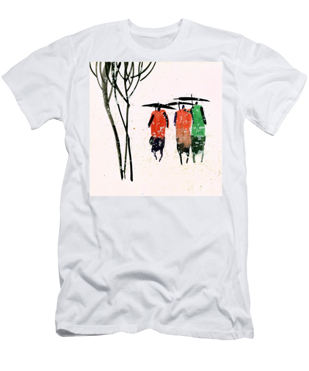 People T-Shirt featuring the painting Buddies 3 by Anil Nene