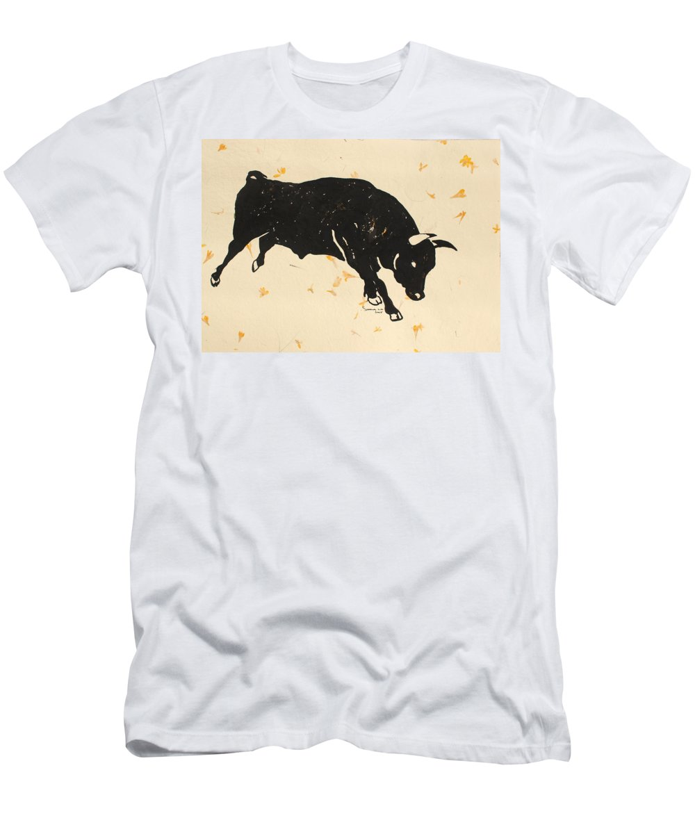 Bull Men's T-Shirt (Athletic Fit) featuring the painting Bull 1 by Santhosh Ch