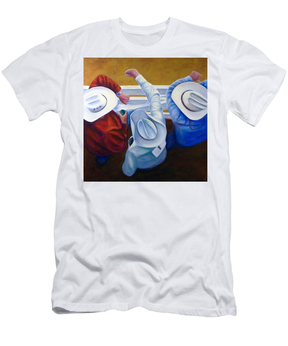 Western Men's T-Shirt (Slim Fit) featuring the painting Bull Chute by Shannon Grissom