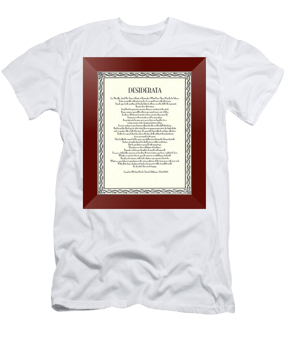 Desiderata Men's T-Shirt (Athletic Fit) featuring the mixed media Burgundy Leaf Desiderata by Desiderata Gallery