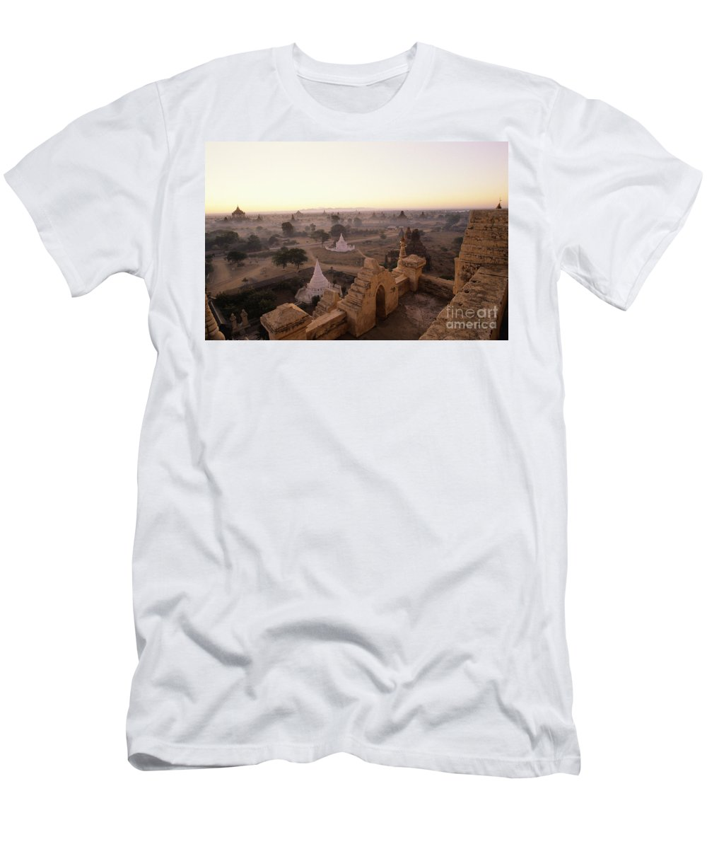 Afternoon Men's T-Shirt (Athletic Fit) featuring the photograph Burma Landscape by William Waterfall - Printscapes