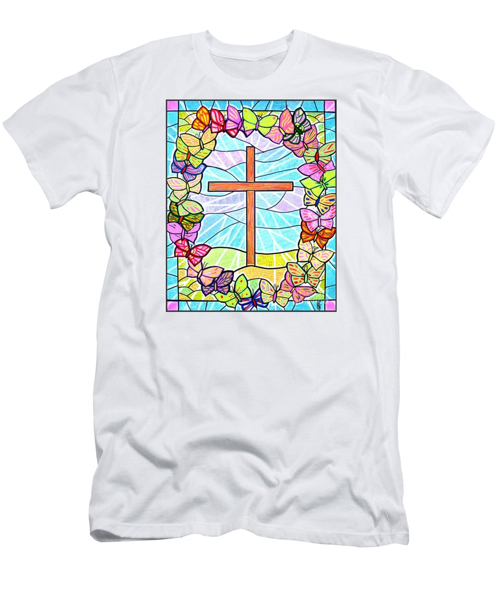Easter Men's T-Shirt (Athletic Fit) featuring the painting Butterflies And Cross by Jim Harris