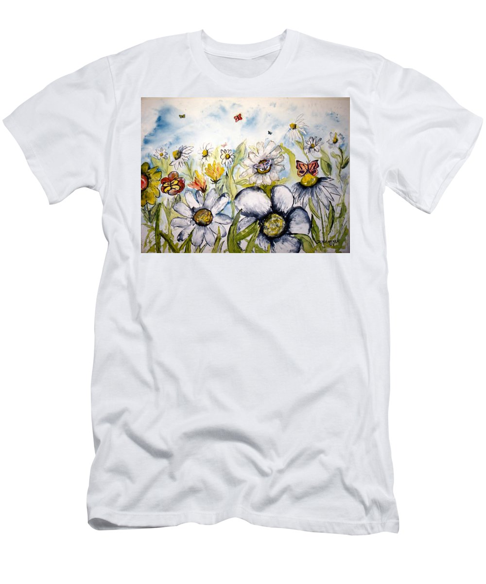Butterfly Men's T-Shirt (Athletic Fit) featuring the painting Butterflies And Flowers by Derek Mccrea