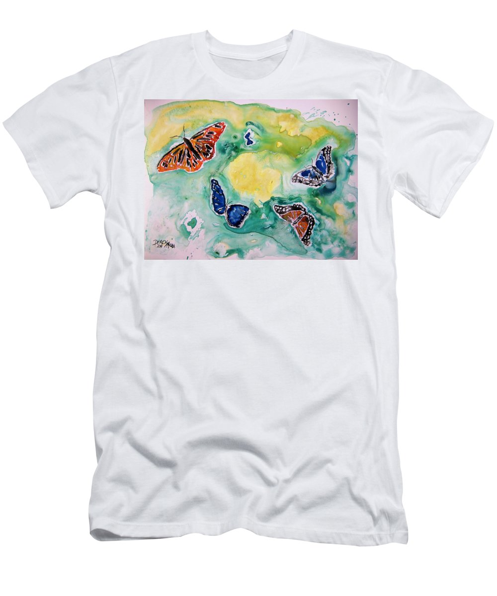 Watercolour Men's T-Shirt (Athletic Fit) featuring the painting Butterflies by Derek Mccrea