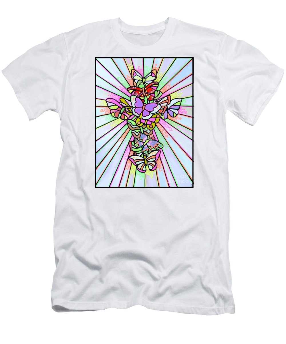 Cross. Easter Men's T-Shirt (Athletic Fit) featuring the painting Butterfly Cross by Jim Harris
