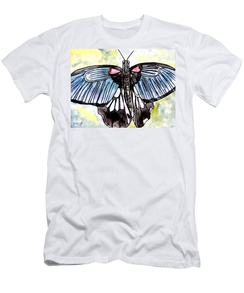 Watercolor Men's T-Shirt (Athletic Fit) featuring the painting Butterfly Macro by Derek Mccrea