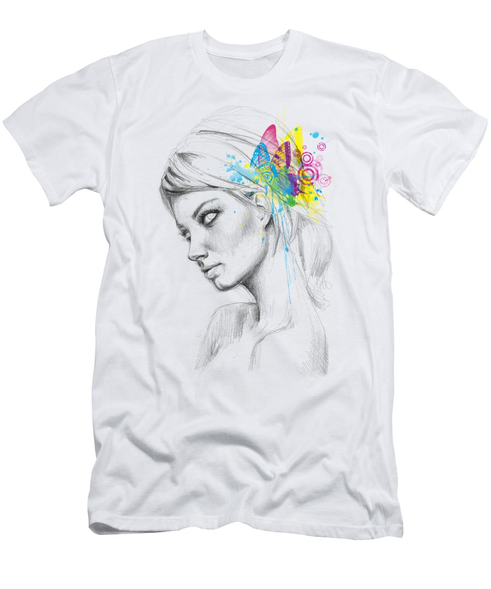 Butterfly Men's T-Shirt (Athletic Fit) featuring the digital art Butterfly Queen by Olga Shvartsur