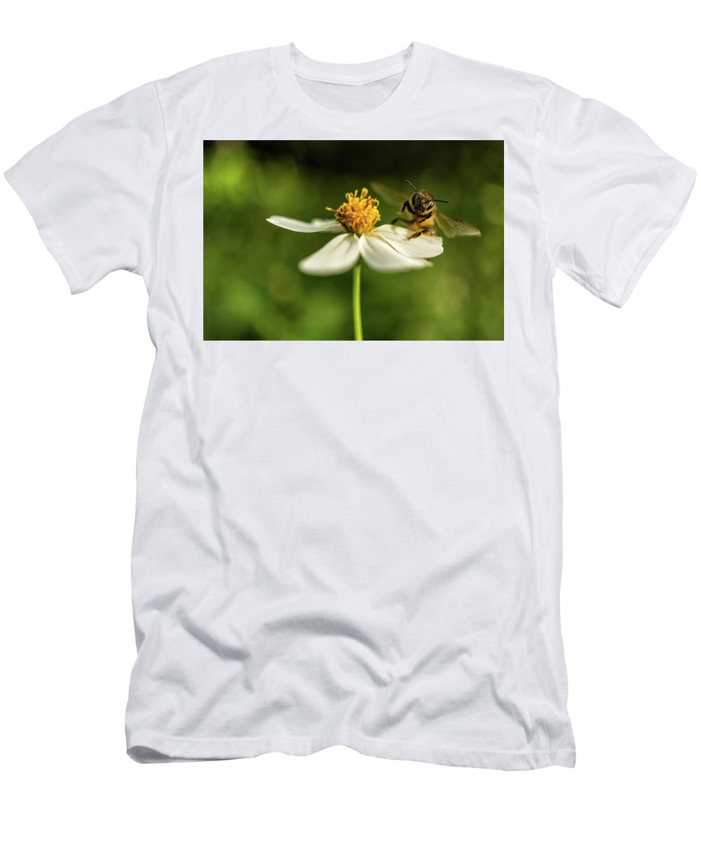 Flowers Men's T-Shirt (Athletic Fit) featuring the photograph Buzz Off by Louise Lindsay