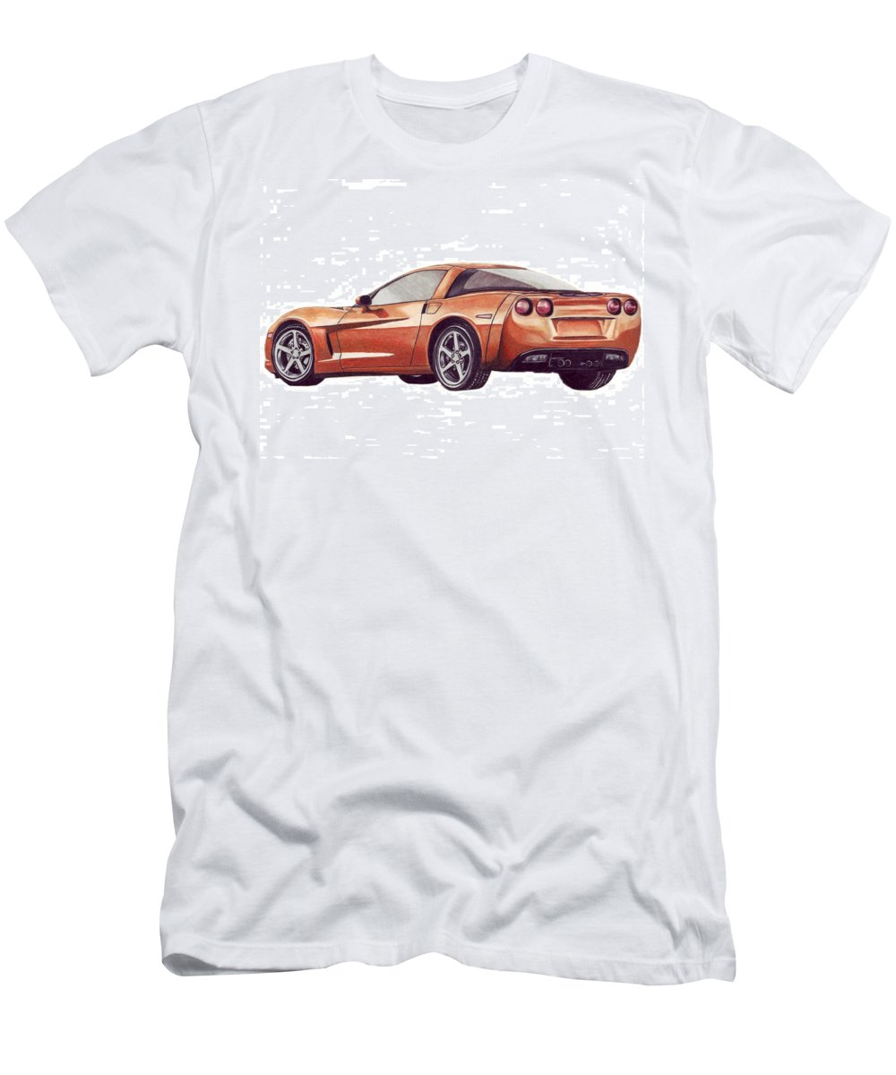 Corvette Men's T-Shirt (Athletic Fit) featuring the drawing C6 by Kristen Wesch