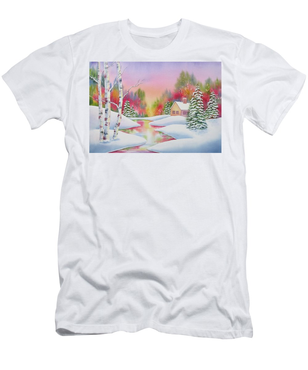 Landscape Men's T-Shirt (Athletic Fit) featuring the painting Cabin In The Woods by Deborah Ronglien