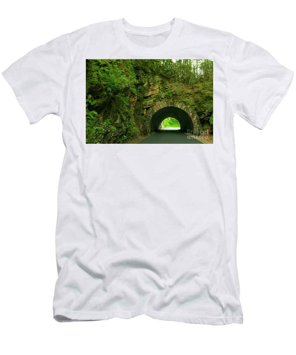 Tunnel Men's T-Shirt (Athletic Fit) featuring the photograph Cades Cove Tunnel by Barbara Rabek