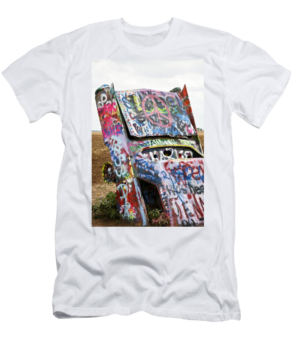 Americana Men's T-Shirt (Athletic Fit) featuring the photograph Cadillac Ranch by Marilyn Hunt