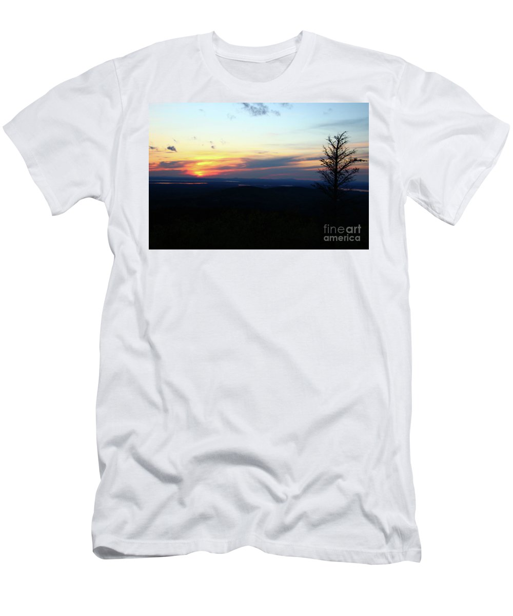 Landscape Men's T-Shirt (Athletic Fit) featuring the photograph Cadillac Sunset by Nicole Engelhardt