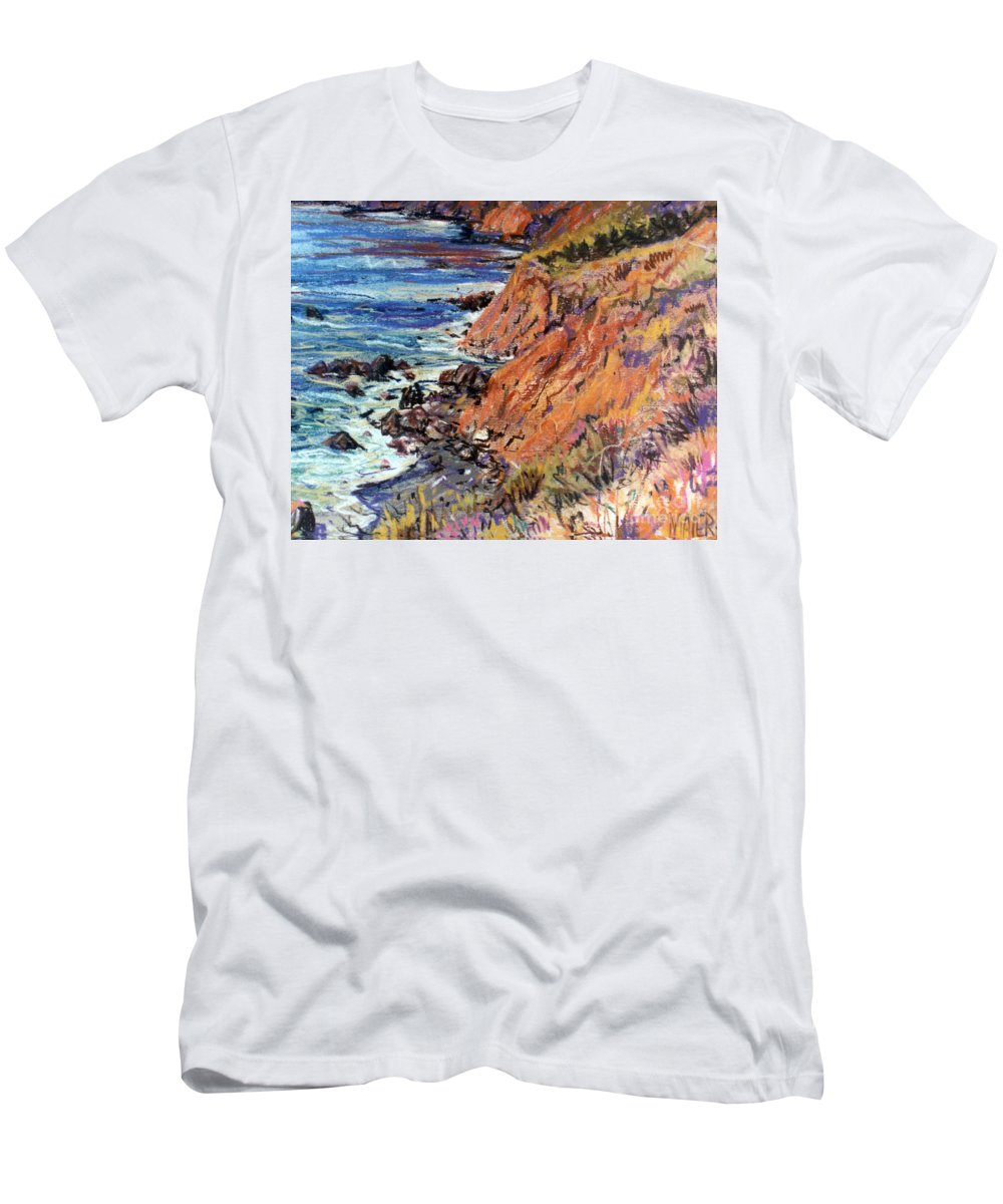 Big Sur Men's T-Shirt (Athletic Fit) featuring the drawing California Coast by Donald Maier