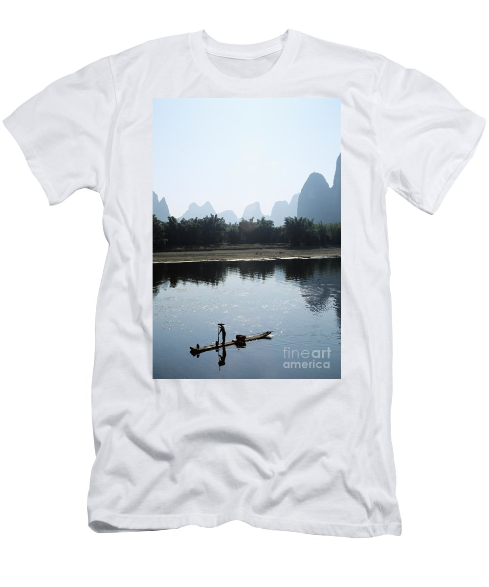 Alone Men's T-Shirt (Athletic Fit) featuring the photograph Calm On The Li River by Gloria & Richard Maschmeyer - Printscapes