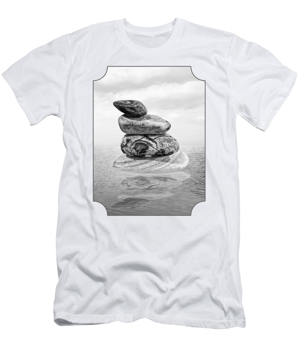 Pebbles Men's T-Shirt (Athletic Fit) featuring the photograph Calm Waters In Black And White by Gill Billington