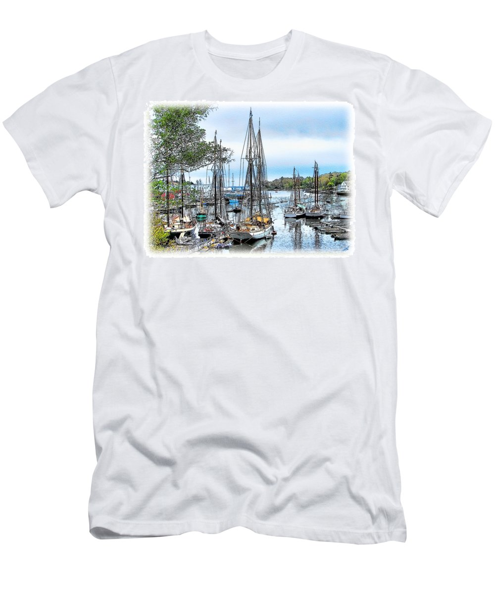Camden Men's T-Shirt (Athletic Fit) featuring the painting Camden Bay Harbor by Tom Schmidt