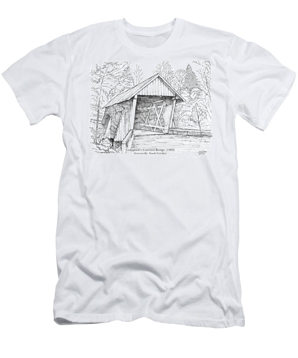 Covered Wooden Bridge Men's T-Shirt (Athletic Fit) featuring the drawing Campbell's Covered Bridge by Greg Joens