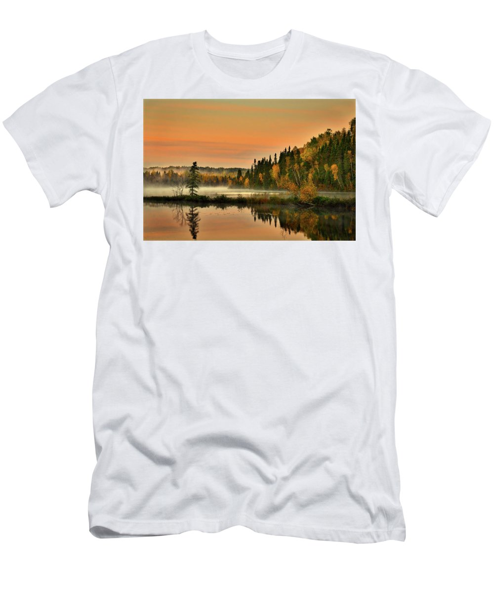 Canada Men's T-Shirt (Athletic Fit) featuring the photograph Canadian Autumn Sunrise by Pixabay