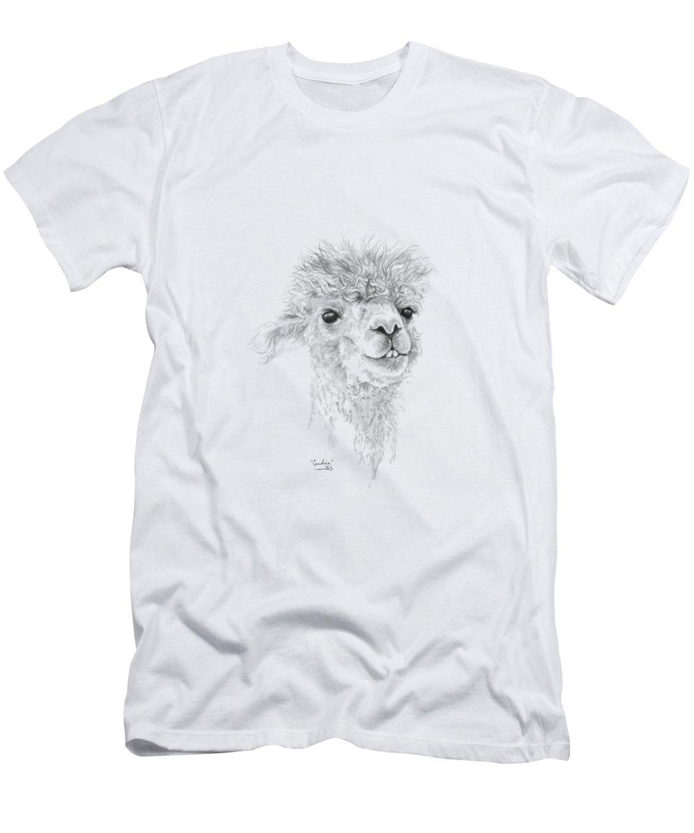 Llama Art Men's T-Shirt (Athletic Fit) featuring the drawing Candice by K Llamas