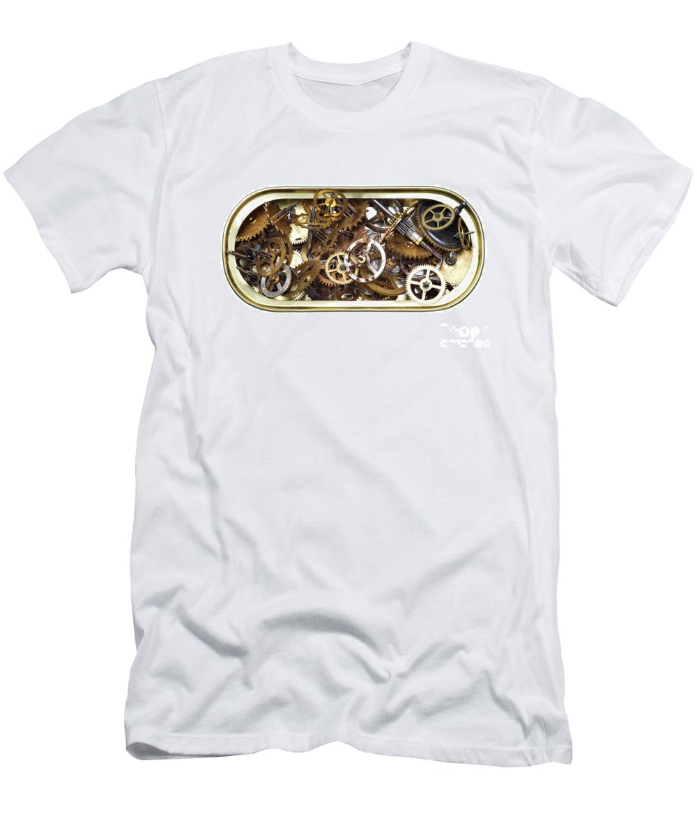 Clockwork Men's T-Shirt (Athletic Fit) featuring the photograph Canned Time by Michal Boubin