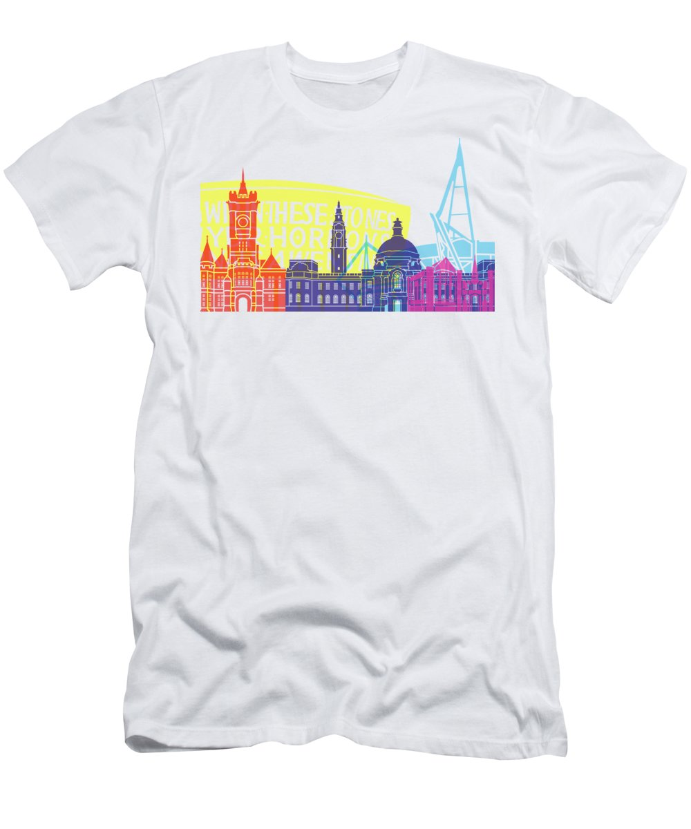 Cardiff Men's T-Shirt (Athletic Fit) featuring the painting Cardiff Skyline Pop by Pablo Romero