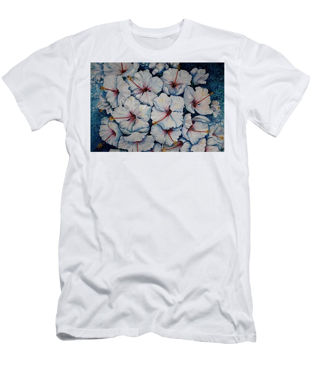 White Hibiscus T-Shirt featuring the painting Caribbean Hibiscus by Karin Dawn Kelshall- Best
