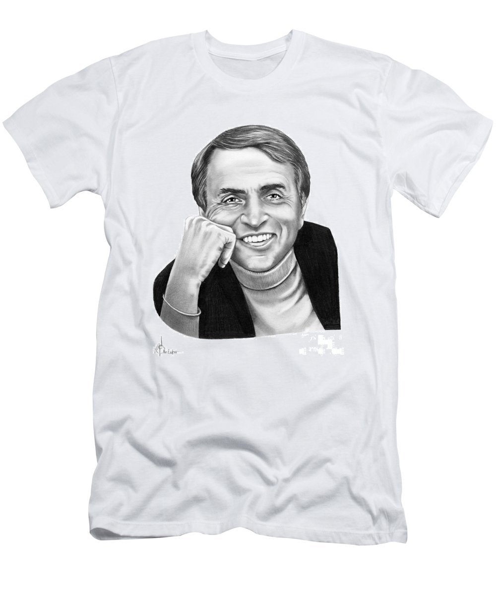 Pencil Men's T-Shirt (Athletic Fit) featuring the drawing Carl Sagan by Murphy Elliott