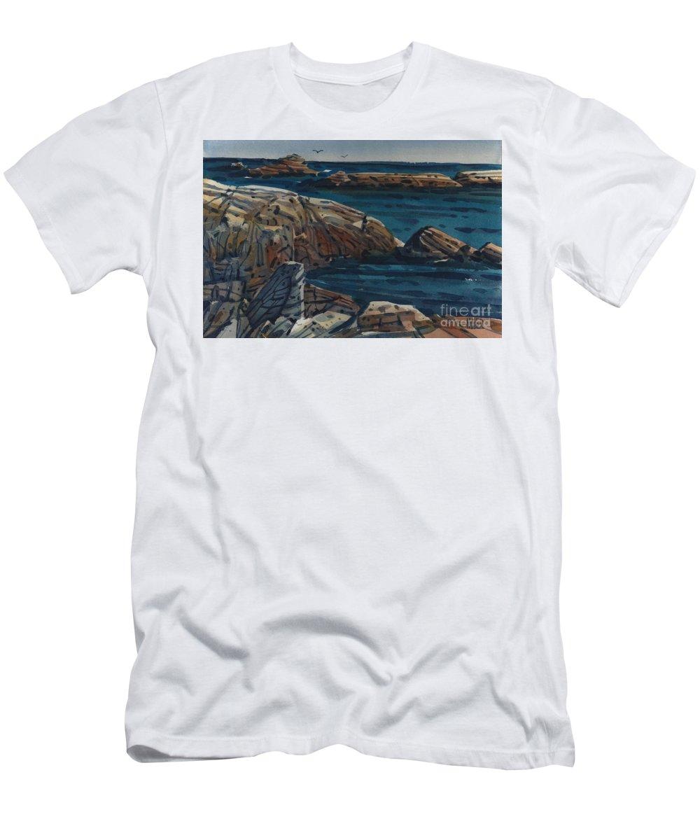 Carmel Beach Rocks T-Shirt featuring the painting Carmel Beach Rocks by Donald Maier