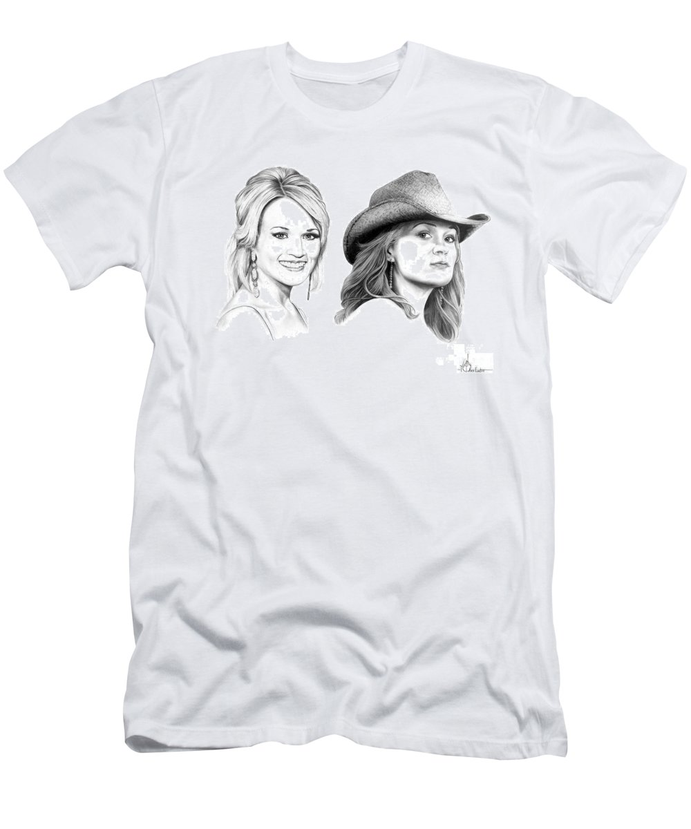Drawing Men's T-Shirt (Athletic Fit) featuring the drawing Carrie And Carrie Underwood by Murphy Elliott