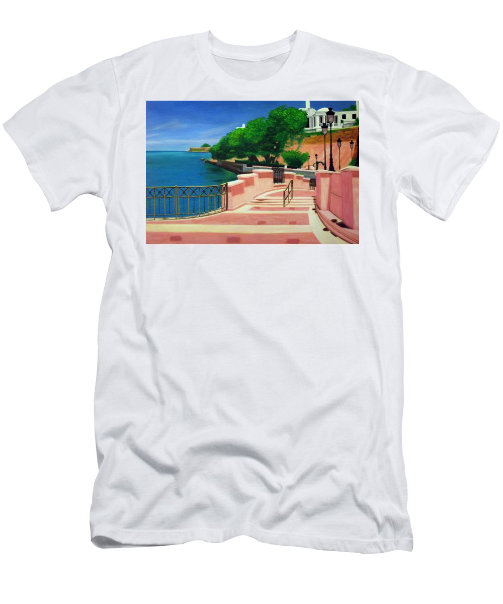Landscape Men's T-Shirt (Athletic Fit) featuring the painting Casa Blanca - Puerto Rico by Tito Santiago