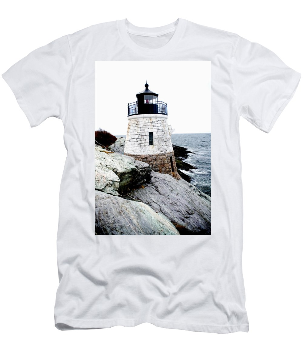 Lighthouse Men's T-Shirt (Athletic Fit) featuring the photograph Castle Hill Light by Greg Fortier