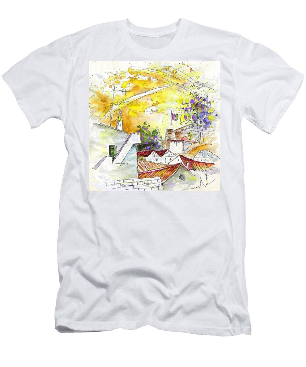 Water Colour Travel Sketch Castro Marim Portugal Algarve Miki Men's T-Shirt (Athletic Fit) featuring the painting Castro Marim Portugal 03 by Miki De Goodaboom