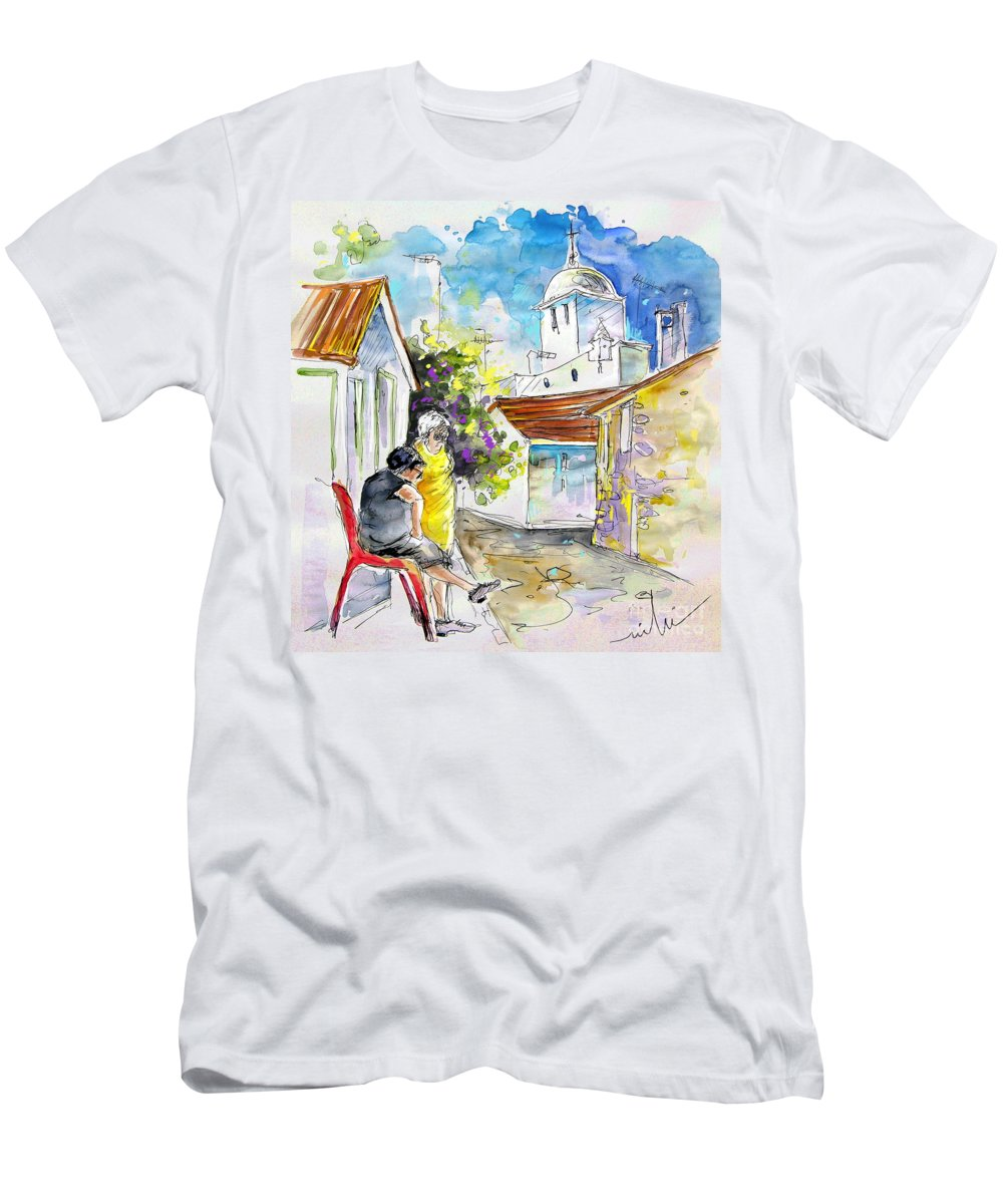 Water Colour Travel Sketch Castro Marim Portugal Algarve Miki Men's T-Shirt (Athletic Fit) featuring the painting Castro Marim Portugal 04 by Miki De Goodaboom