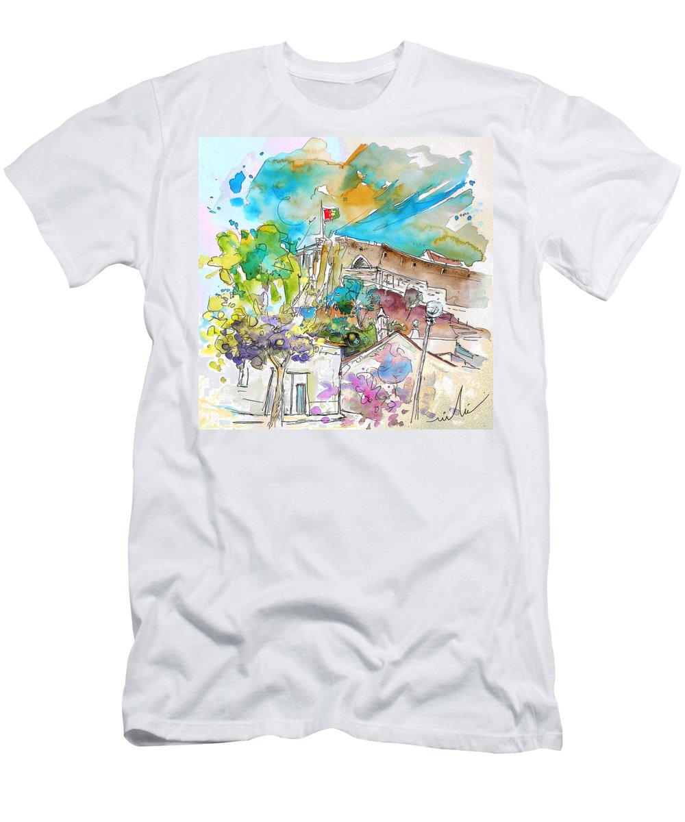 Castro Marim Portugal Algarve Painting Travel Sketch Men's T-Shirt (Athletic Fit) featuring the painting Castro Marim Portugal 10 by Miki De Goodaboom