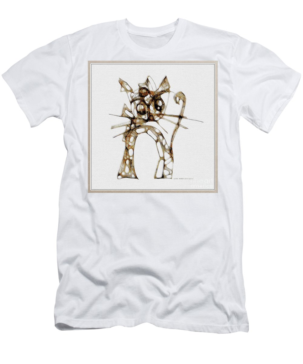Abstraction Men's T-Shirt (Athletic Fit) featuring the digital art Cat 3672 by Marek Lutek