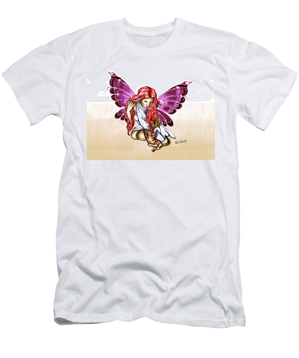 Cat Fairy Men's T-Shirt (Athletic Fit) featuring the drawing Cat Fairy In Purple by Peter Piatt
