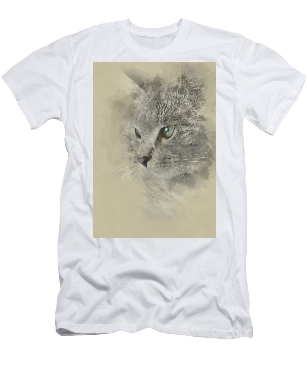 Cat Men's T-Shirt (Athletic Fit) featuring the painting Cat, Nikita Il Gatto. by Dante Blacksmith