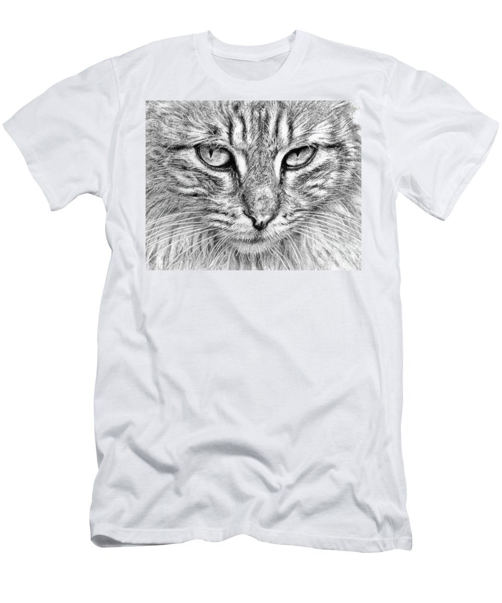 Cat Men's T-Shirt (Athletic Fit) featuring the drawing Cat by Yana Wolanski