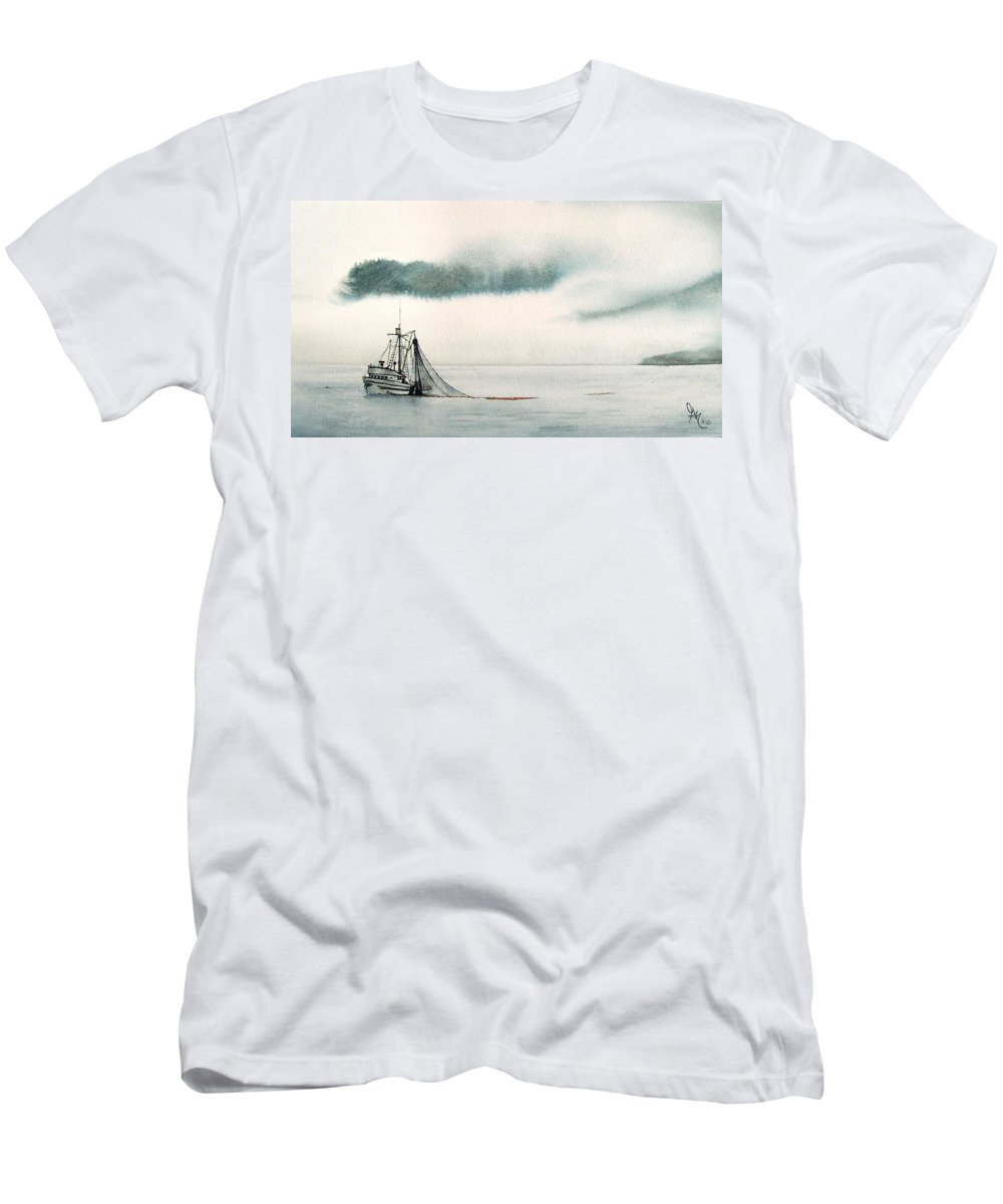 Fishing Boat Men's T-Shirt (Athletic Fit) featuring the painting Catch Of The Day by Gale Cochran-Smith
