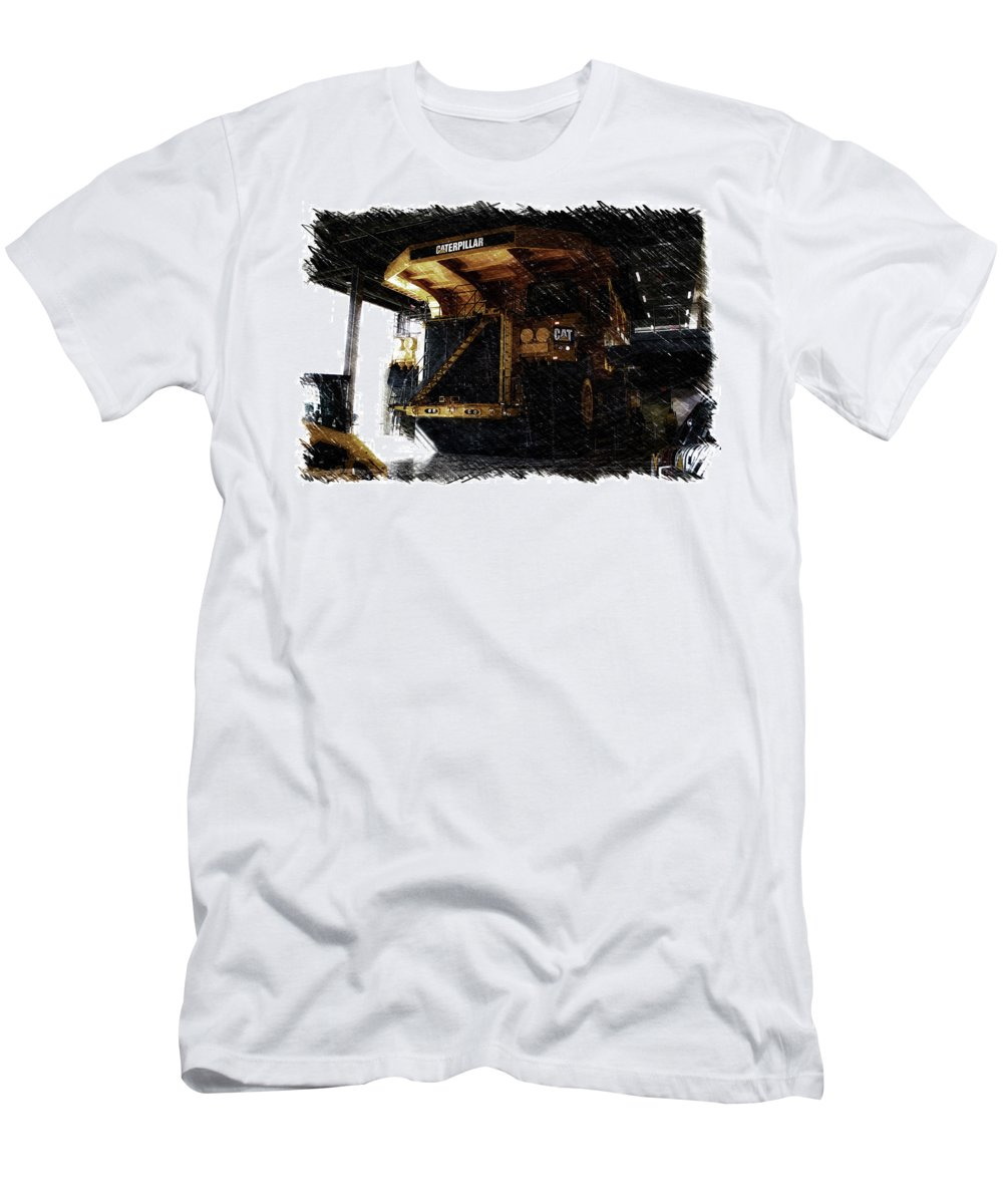 Caterpillar Men's T-Shirt (Athletic Fit) featuring the mixed media Caterpillar 797f Mining Truck Pa by Thomas Woolworth