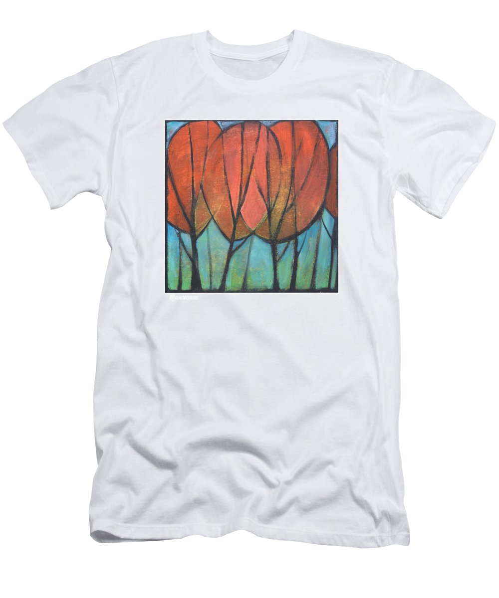 Trees Men's T-Shirt (Athletic Fit) featuring the painting Cathedral by Tim Nyberg