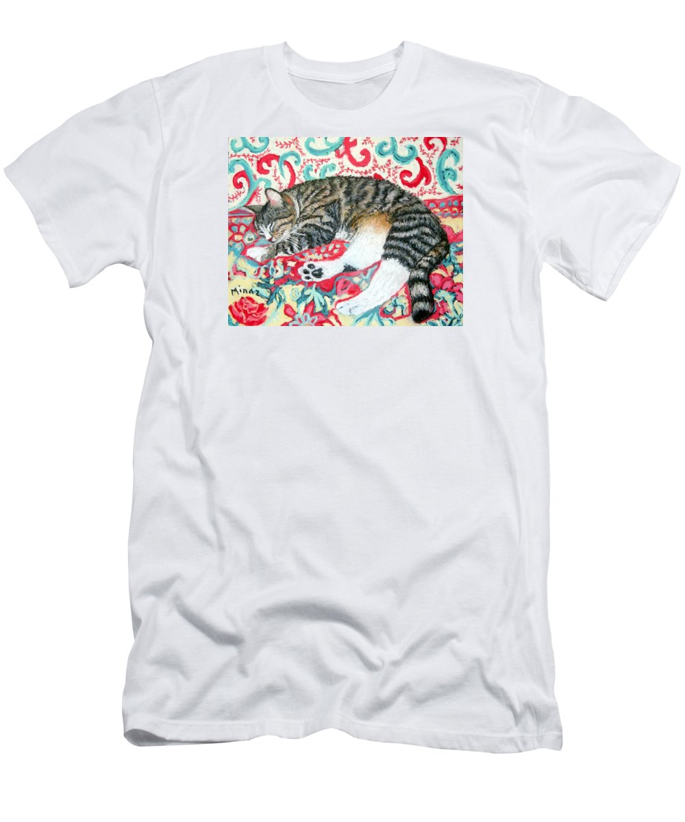 Cat Men's T-Shirt (Athletic Fit) featuring the painting Catnap Time by Minaz Jantz
