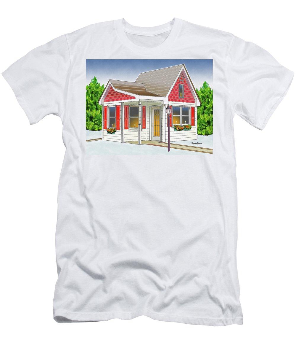 Catonsville Men's T-Shirt (Athletic Fit) featuring the digital art Catonsville Santa House by Stephen Younts