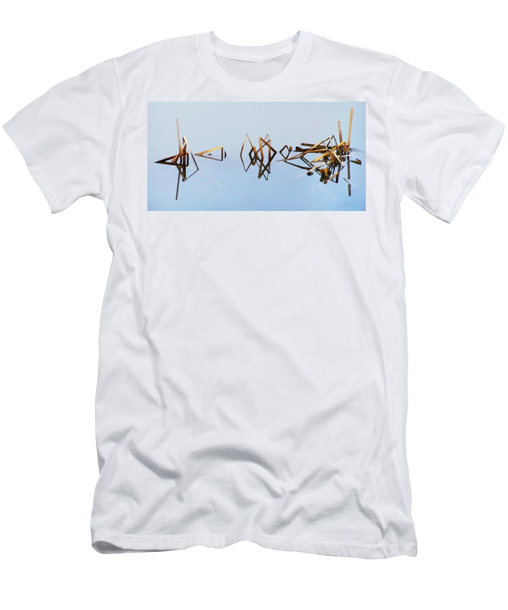Cattails Weeds Water Reflections Pond Lake Fog Abstract T-Shirt featuring the photograph Cattail Reflections by Francesa Miller